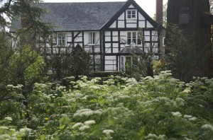 Front of Upper Newton Farmhouse with cow parsley
