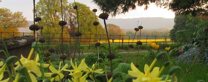 View from the garden at Upper Newton Farm in spring