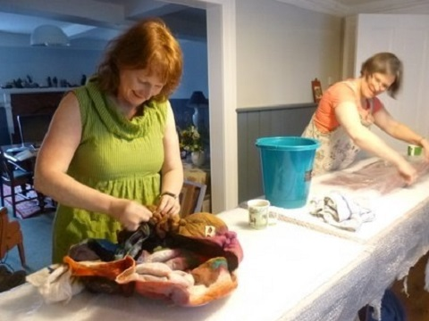 Felting course in progress at Herefordshire Holidays