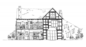 The Herefordshire Holidays logo is a pen and ink drawing of Upper Newton Farmhouse by up-and-coming artist Brittany Davies
