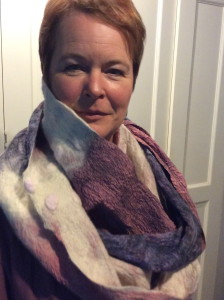 Ruth, chef at Westonbury Water gardens models Italian merino and silk