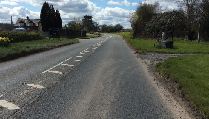 Drive past the milk churn and the left turn to Kinnersley Church